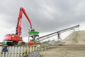 """<div class=""""bildtext"""">2 Mit einer Reichweite von 19&nbsp;m schaufelt Fahrer Ruud Thijssen mit dem 2,75&nbsp;m³ Zweischalengreifer den Sand in den direkt am Kai montierten Schütttrichter • With a range of 19&nbsp;m, Ruud Thijssen, the driver, shovels sand directly into hopper, which is installed directly at the quay, using the 2.75&nbsp;m³ double shell grab</div>"""