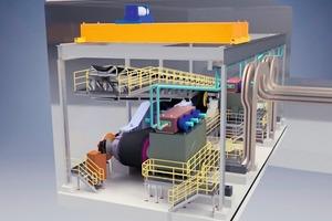 """<div class=""""bildtext"""">53D Modell einer unterirdischen Antriebskammer für einen von vier Schrägförderern für die Oyu Tolgoi Mine – ausgestattet mit zwei getriebelosen 5500kW-Antrieben  3D rendering of the Oyu Tolgoi underground drive chamber for one of the four slope conveyors with 2x5.5MW gearless drives</div>"""