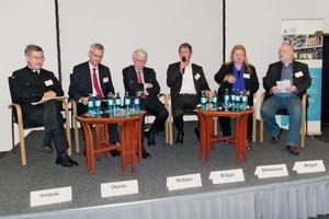 """<div class=""""bildtext"""">9 Teilnehmer der Podiumsdiskussion (v.l.): Dr.-Ing. Manfred Goedecke, IHK Chemnitz; RA Dr. Thorsten Diercks, Hauptgeschäftsführer Verband Rohstoffe und Bergbau, Berlin; Prof. Dr.-Ing. Dr.&nbsp;h.&nbsp;c.&nbsp;mult. Friedrich Wilhelm Wellmer, Präsident der BGR a.D., Hannover; Ralf Krüger, Journalist und Moderator,Dresden; Antje Hermenau, Politikberaterin, Dresden; Tilo Berger, Wirtschaftsredakteur. Sächs. Zeitung, Dresden • Participants at the panel discussion (f.l.): Dr.-Ing. Manfred Goedecke, IHK (Chamber of Industry and Commerce) Chemnitz; RA Dr. Thorsten Diercks, Secretary of the Mining and Raw Materials Society, Berlin; Prof. Dr.-Ing. Dr.&nbsp;h.&nbsp;c.&nbsp;mult. Friedrich Wilhelm Wellmer, retired President of the Federal Institute for Geosciences and Natural Resources (BGR), Hanover; Ralf Krüger, moderator and journalist, Dresden; Antje Hermenau, political consultant, Dresden; Tilo Berger, business editor, Sächsische Zeitung (Saxonian Newspaper), Dresden</div>"""