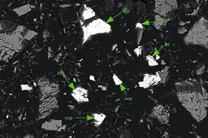 """<div class=""""bildtext"""">10Nahaufnahme des Los Bronces Erzes, &lt;63µm Siebfraktion, mit voller Freilegung der Partikel verglichen mit den in Bild8 und Bild9 gezeigten gröberen Fraktionen<br />Close-up of Los Bronces ore, &lt;63µm sieve fraction, with complete particle liberation compared to the coarser fractions shown in Fig.8 and Fig.9</div>"""