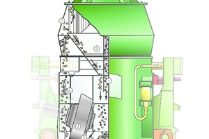 "<div class=""bildtext"">2 Schematische Darstellung des Wirkprinzips in der LOESCHE-Mühle • Schematic representation of the operating principle in the LOESCHE mill</div>"