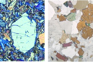 "<div class=""bildtext"">7	Polarisationsmikroskopische Aufnahme von Olivin (links) und Glimmer (rechts) • Polarization microscope image of olivine (left) and mica (right)</div>"