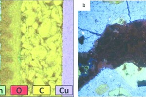 "<div class=""bildtext"">12 EDX-Bild (links – a) [12] und Kathodolumineszenzbild (rechts – b) [39] • EDX image (left – a) [12] and cathodoluminescence image (right – b) [39]</div>"
