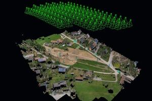 """<div class=""""bildtext"""">1 Hier eine Punktewolke von einer Erdbaustelle, aus der auch digitale Geländemodelle für die Maschinensteuerung erstellt werden können • Here a point cloud of an earthwork from which digital terrain models can be generated for machine control</div>"""