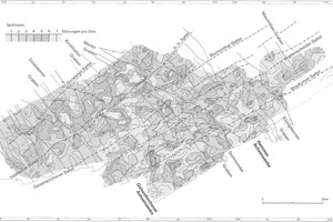"<div class=""bildtext"">25 Intensitätsverteilung der Bruchtektonik (Verwurf &gt; 10 m an Karbonoberfläche, Streichrichtung parallel Faltenachsen) [9, S. 134/135] # Intensity distribution of fracture tectonics (fault &gt; 10 m at Carboniferous surface, direction of strike parallel to the fold axes) [9, p. 134/135]</div>"
