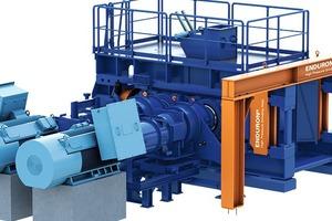 """<div class=""""bildtext"""">1 Enduron<sup>®</sup> Hochdruckwalzenmühlen (HPGR) von Weir Minerals • Weir's Enduron<sup>®</sup>High Pressure Grinding Rolls (HPGR)</div>"""