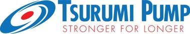Das Markenlogo von Tsurumi: Der blaue Wasserwirbel symbolisiert eine Kompetenz im Pumpenbau, die bis ins Jahr 1924 zurückreicht