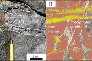 """<div class=""""bildtext"""">6 Kassiterit, Chlorit, Fluorit und diverse Sulfidminerale werden in den Lithoeinheiten von Hämmerlein immer zusammen in Äderchen und Linsen ausgefällt. A: Foto der Eisenoxideinheit. B: Mit AM erstelltes Falschfarbenbild • Cassiterite, chlorite, fluorite and diverse sulphide minerals are always precipitated in the lithounits of the Hämmerlein deposit together in veinlets and lenses. A; Photo of the iron oxide unit. B. A false colour image generated with AM</div>"""