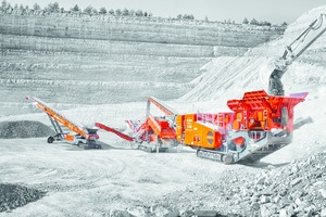 """<div class=""""bildtext"""">Mobile crusher and screening equipment in a quarry</div>"""