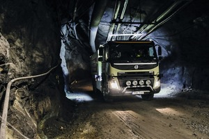 """<div class=""""bildtext"""">4 The Volvo FMX drives autonomously in the narrow mine tunnels</div>"""