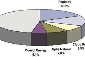 """<span class=""""bildunterschrift_hervorgehoben"""">3</span>Marktanteile der Kohleproduktion (2009) der US-Unternehmen • US companies shares in world coal production (2009)<br />"""