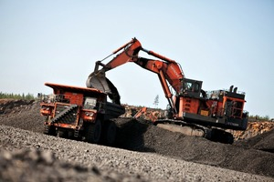 Hydraulikbagger und Muldenkipper von Hitachi # Hydraulic excavator and dumper from Hitachi<br />