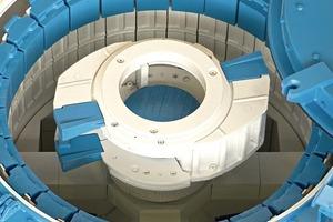 4BHS Rotorschleuderbrecher vom Typ RSMX mit dem patentierten Zweikammerrotor, vertikaler Welle und Ringpanzerung BHS rotor centrifugal crusher of type RSMX with the patented twin-chamber rotor, vertical shaft and anvil ring
