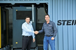 "<div class=""bildtext"">2 STEINERT Australia's General Manager, Johan van Zyl (left) with Blake Stanley from Ore Sorting Australia Pty Ltd </div>"
