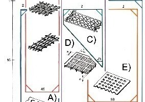 Survey of selected screen decks or surfaces, respectively, for various properties of the material to be screened as well as cut sizes (d<sub>T</sub>): A) screen deck of steel plates, B) screen cloth, C) harp-type screen deck, D) screen deck of rubber or polyurethane fibre plates, E) screen mats of rubber or polyurethane fibre, F) cantilever beam/rod screen deck