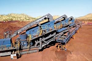 """<span class=""""bildunterschrift_hervorgehoben"""">3</span>Drei mobile Nachbrechanlagen MCO&nbsp;13&nbsp;S produzieren Eisenerz der Größe 0–10&nbsp;mm • Three MCO&nbsp;13&nbsp;S mobile secondary crushers produce iron ore 0–10&nbsp;mm in size<br />"""