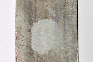 7 Asbestzementplatte mit leichten Verschmutzungen, aber ohne Beschichtung mit räparierten Arealen ● Panel of asbestos cement with slight contaminations, but without coating and with prepared areas
