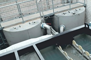 """<div class=""""bildtext"""">3 A filter complex of sand filters in use in the processing washing water, shown on the right in the photo is a lamella clarifier for coarse cleaning</div>"""