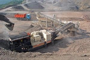 Mobile preparation plant in a basalt quarry (Asamer Group)<br />
