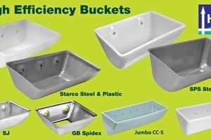 """2 Beispiele von """"Hochleistungselevatorbechern"""" • Examples of """"High Efficiency"""" elevator buckets"""
