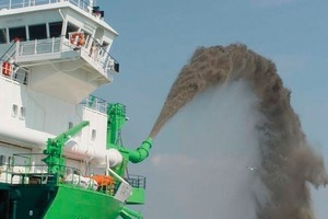 Suction dredger in action<br />