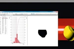 2 Die Zeilenkamera erkennt alle Partikel im freien Fall und verarbeitet die Daten in Echtzeit • The line camera identifies all particles in freefall and processes the data in real time