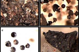 a)Probe der Siebfraktion +500 µm zeigt geschmolzene Kohlenstoffpartikel (schwarz), metallische Teilchen (glänzend) und Silicate (hell/weiß) (20 x)<br />b)Probe der Siebfraktion +210 µm zeigt unterschiedliche Arten von Kügelchen mit oder ohne metallische Partikel (30 x)<br />c)Probe der Siebfraktion +210 µm zeigt gebrochene, hohle Kügelchen (oben), poröse Kügelchen (ganz unten rechts), feste Kügelchen und gebrochene Kügelchen (30 x)<br />d)Einige Silicatkügelchen sind in der geschmolzenen Kohlenstoffmasse in der Siebfraktion +210 µm eingeschlossen (30 x)<br />