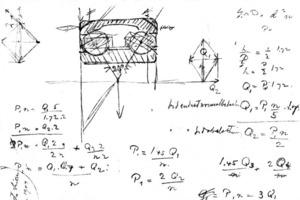 """<div class=""""bildtext"""">2Sven Wingquists Skizze seines revolutionären zweireihigen Pendelkugellagers<br />Sven Wingquist's sketch of his revolutionary self-aligning double row ball bearings</div>"""