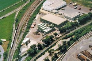 Luftaufnahme der Bodenaufbereitungsanlage von ABW in Wien/Österreich • Aerial photo of the ABW soil processing plant in Vienna/Austria