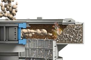 """2b)Zerkleinerungsfunktion des BHS Rotorschleuderbrechers mit Sandbett nach dem """"Gestein-auf-Gestein""""-Prinzip Crushing function of the BHS rotor centrifugal crusher with rock shelf by means of the """"rock-on-rock"""" principle"""