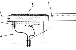 Schematic representation of an ultrasonic screen: 1 screen cloth, 2 resonator, 3 adhesive, 4 cover, 5 mechanical damping, 6 voltage supply<br />