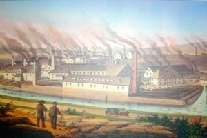 "<span class=""bildunterschrift_hervorgehoben""></span>Painting of the Muldenhütten smelter dating from around 1800– smoking chimneys as a sign of its high productivity (source: [15])<br />"