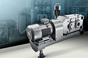 Der neue Siemens Becherwerksantrieb enthält Komponenten aus der Getriebereihe Flender SIG und der neuen Getriebemotorenreihe Simogear ●<br /> The new Siemens bucket elevator drive unit contains components from the Flender SIG gearbox series and the new Simogear range of geared motors<br />&nbsp;<br />