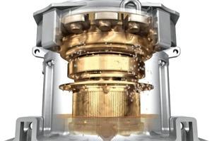 """<span class=""""bildunterschrift_hervorgehoben"""">2</span>Darstellung des neu entwickelten Getriebes mit integriertem Motor • Presentation of the newly developed gearbox with integrated motor"""